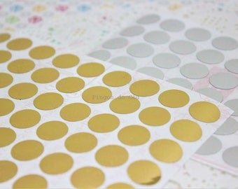 108 pcs - 0.50'' Dots Stickers - Metallic Mini Dot Stickers - Planner- Filofax - Bullet Journal - Party Sticker - 1.2cms - Made to Order