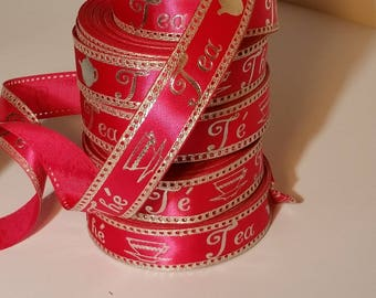 Hot Pink & Silver WIRED Tea Satin Ribbon SALE 1 inch width Biodegradable, Made in England, crafts gifts tea favor party event basket floral