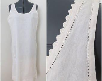 Antique White Cotton Chemise Slip - 1910s 1920s Loose Fitting Slip Nightgown Lingerie