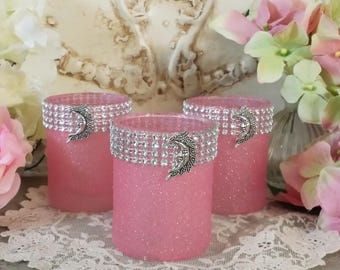 Pink Glitter Candle Holders, Bling Bling Candle Holders, Moon Charm Candle Holders, Votive Holders, Tea Light Holders