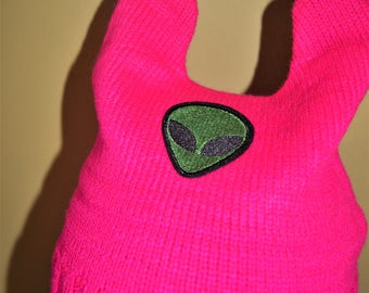 Alien Fluorescent Pink Ear Beanie