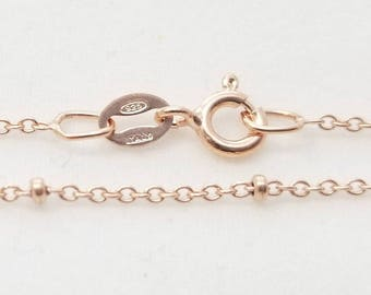 "2 pc, 18"", Rose Gold Plate 925 Sterling Silver Satellite Finished chain, 1.1mm Cable, 1.8mm Rondelle bead - NCF"