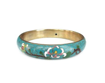 Chinese Wide Cloisonne Bangle Bracelet - Chinese Export Jewelry, Turquoise Blue Enamel, Flower Bracelet, Vintage Bracelet, Vintage Jewelry