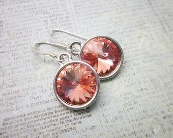 Pink Peach Earrings -- Rose Peach Earrings -- Silver & Peach Pink Earrings -- Peach Pink Crystal Earrings -- Rose Peach Swarovski Earrings