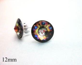 Peacock Feather Earrings -- Large Round Studs -- Peacock Swarovski Earrings -- Rainbow Crystal Posts -- Unique Crystal Studs --Peacock Posts