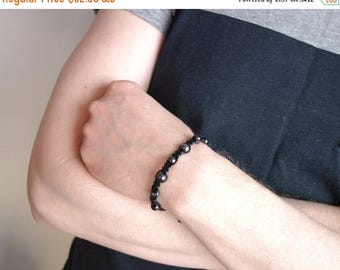 Summer Sale Black leather bracelet macrame cuff bracelet mens leather bracelet black glass beads