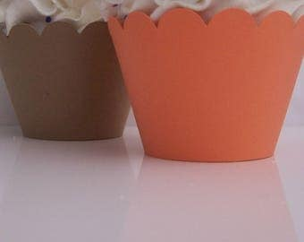 KRAFT BROWN and medium ORANGE  Cupcake  Wrappers....Fully Assembled...Set of 12, Rustic Party, Wedding, Bridal Shower, Fall Theme, Halloween