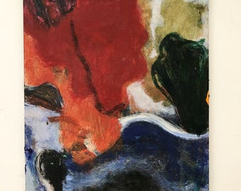 Mid Century Abstract Painting on Wood