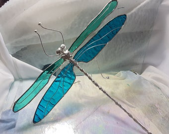 Teal Green and Tuquoise Stained Glass Dragonfly Sculpture Standing Poseable Large