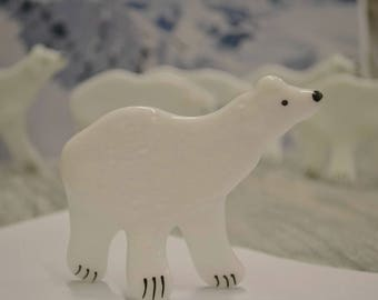 Polar Bear Knick Knack, Fused Glass, Christmas Decor, Polar Bear Figurine, Holiday Decor, Alaska Animal, Artic Animal, Winter Decor