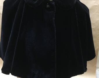 Vintage Capelet--Black Faux Fur--Size Small- Medium--Peter Pan Collar--Wedding- Evening Wrap-- Boho, Goth- Large Child's Cape--by Cloud No 9