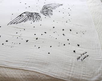 Wings - Personalized - Organic Cotton Swaddle Blanket Tapestry