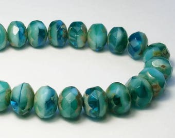 Picasso Czech Glass Beads Capri Blue, Sky Blue and Turquoise 6 x 8mm Faceted Rondelle Beads 10 Pcs. 590