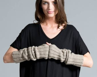 50% SALE Black Gloves / Knit Fingerless Gloves / Knit Arm Warmers / Women's Gloves / Grey Fingerless Gloves / marcellamoda k - MA419