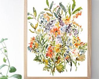 Rustic Mix, Watercolor Fine Art Print, Watercolor Flowers, Fine Art Print, 8x10, 11x14
