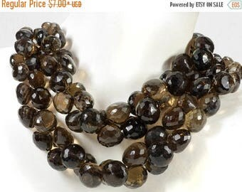 ON SALE Smoky Quartz Beads Faceted Onions Candy Kiss Briolettes Warm Brown Earth Mined Gemstone - 6 or 11 Beads  - 7.5x8.5 to 9x10mm