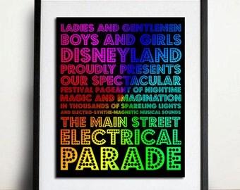 Disneyland - The Main Street Electrical Parade - Subway Art Rainbow Swirl