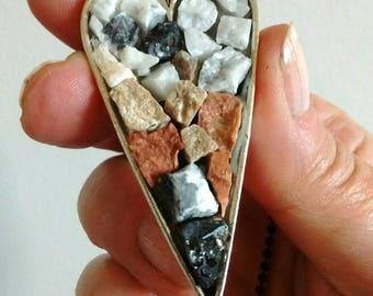 Heart of Stone - mosaic pendant - stone jewelry - mosaic art pendant - mosaic jewelry - heart - heart necklace - heart pendant - neutral