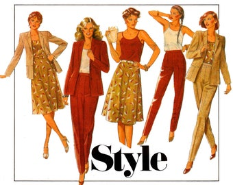 Style 3326 Womens Blazer Skirt Camisole & High Waisted Pants 80s Vintage sewing pattern Size 12 Waist 26 1/2 inches UNCUT Factory Folded
