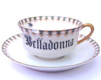 SALE - Damaged - Belladonna Poison Teacup and Saucer