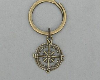 Antique Brass Compass Keyring