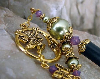 CIJ SALE Hair Stick Fairy and Moon Light Green Pearl and Cyclamen Opal Swarovski Crystal Geisha Dangle Hairstick - Khloe