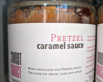 Chocolate Pretzel Caramel Sauce - great for ICE CREAM sundaes, WAFFLES, cheesecakes, gifts, cupcakes, pies, dipping fruit