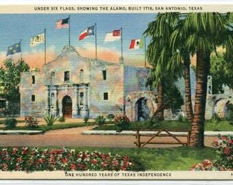 The Alamo Six Flags San Antonio Texas 1940s linen postcard