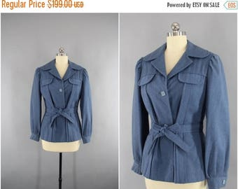 FLASH SALE - Vintage 1940s Wool Jacket / 40s Blazer / WW2 Women's Military Style Coat / Blue Grey / Wwii Era