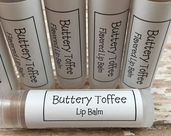 Toffee Flavored Lip Balm | Buttery Toffee Flavored Homemade Lip Balm | Moisturizing Chapstick | Hostess Gift | Lip Care | Gift for Her