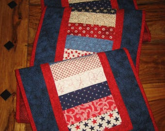 Patriotic Red White and Blue Americana Quilted Table Runner, Memorial Day, 4th of July, Stars and Stripes, Handmade 13.5 x 61""