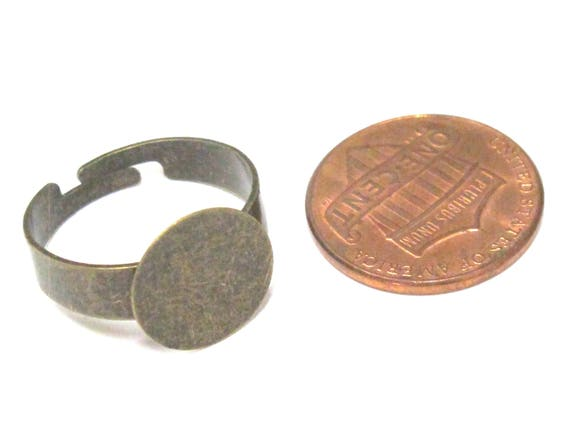 5 pieces -  12 mm size ring pad Adjustable size ring blank antiqued brass tone - LN030