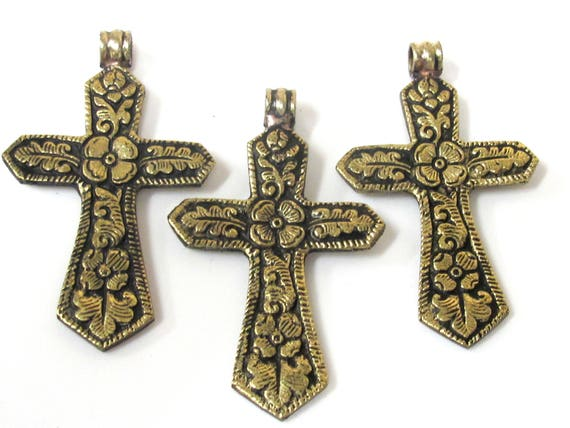 3 Pendants set  - Reversible Tibetan Nepal solid brass cross pendant with carved flower design both sides  - PM423s