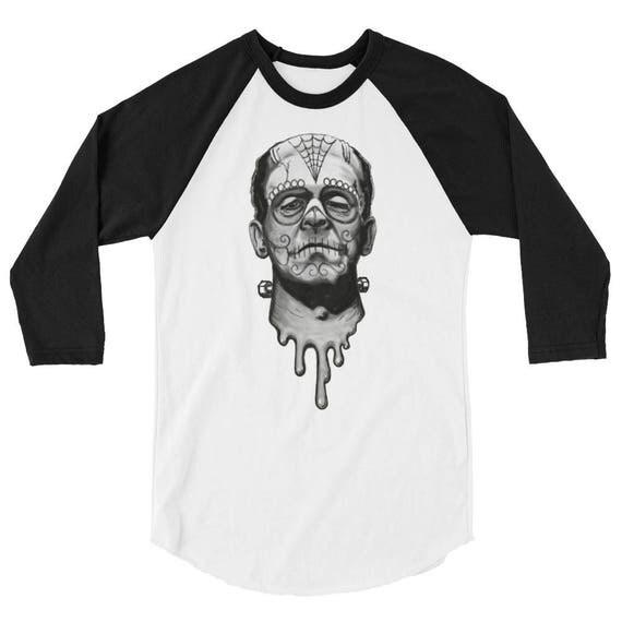 Day of the Dead Frankenstein 3/4 sleeve raglan shirt