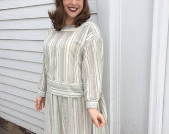 20s Style Dress Vintage 70s Retro Casual Off White XL