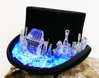 LED light up steampunk top hat