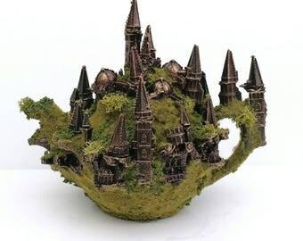 Ruined city diorama teapot sculpture