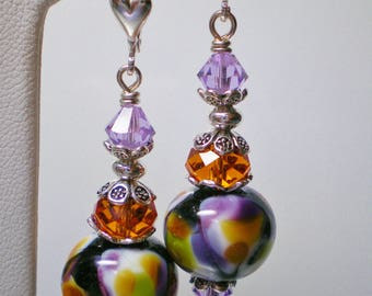 Abstract Lampwork Earrings in Tangerine, Black and Violet
