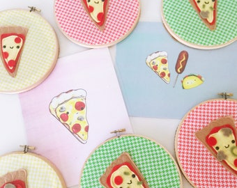 Pizza Embroidery Hoop Art