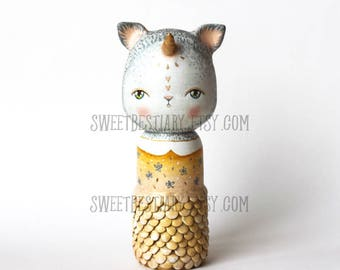Cat unicorn mermaid kokeshi OOAK altered wooden doll