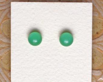 Fused Glass Earrings, Petite, Mineral Green DGE-1160
