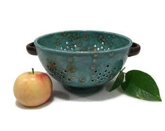 Teal Ceramic Colander / Berry Bowl Brown Handles