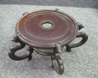"Vintage Wooden Stand 6"" dia inside with 5 legs"