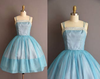 vintage 1950s ice blue chiffon full skirt cocktail party dress Small 50s sequin layered circle skirt