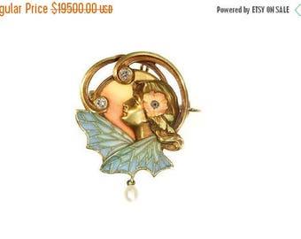 ON SALE Art Nouveau enamel pin brooch woman and wings