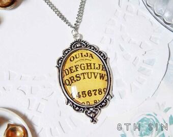Antique Silver Ouija Board Cameo Necklace, Antique Silver Ouija Necklace, Ouija Board Necklace, Brown Ouija Board Necklace, Occult Gift