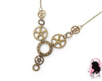 Antique Bronze Gears Necklace, Steampunk Gear Necklace, Steampunk Necklace, Steampunk Gift, Clockwork Necklace, Engineer Gift, Brass Gears