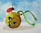 Bell and Bug aceo artist trading card miniature watercolor painting Art by Delilah