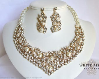 Ivory Pearl Bridal Jewelry Set Gold Crystal Wedding Statement Necklace Earrings Vintage Inspired Prom Evening Pageant Jewelry