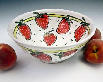 Medium Red Strawberry Ceramic Serving Bowl - Pottery Bowl - Gift for Her - Kitchen Prep - Majolica Bowl -  Fruit Bowl - Wedding gift